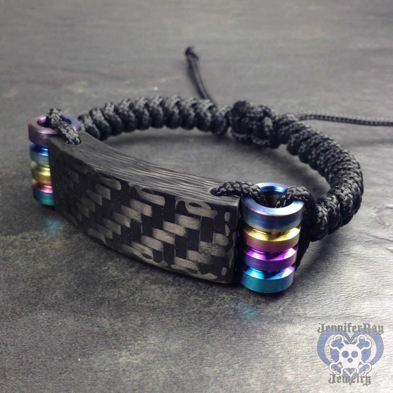 Oil Spill Anium Matte Carbon Fiber Bracelet