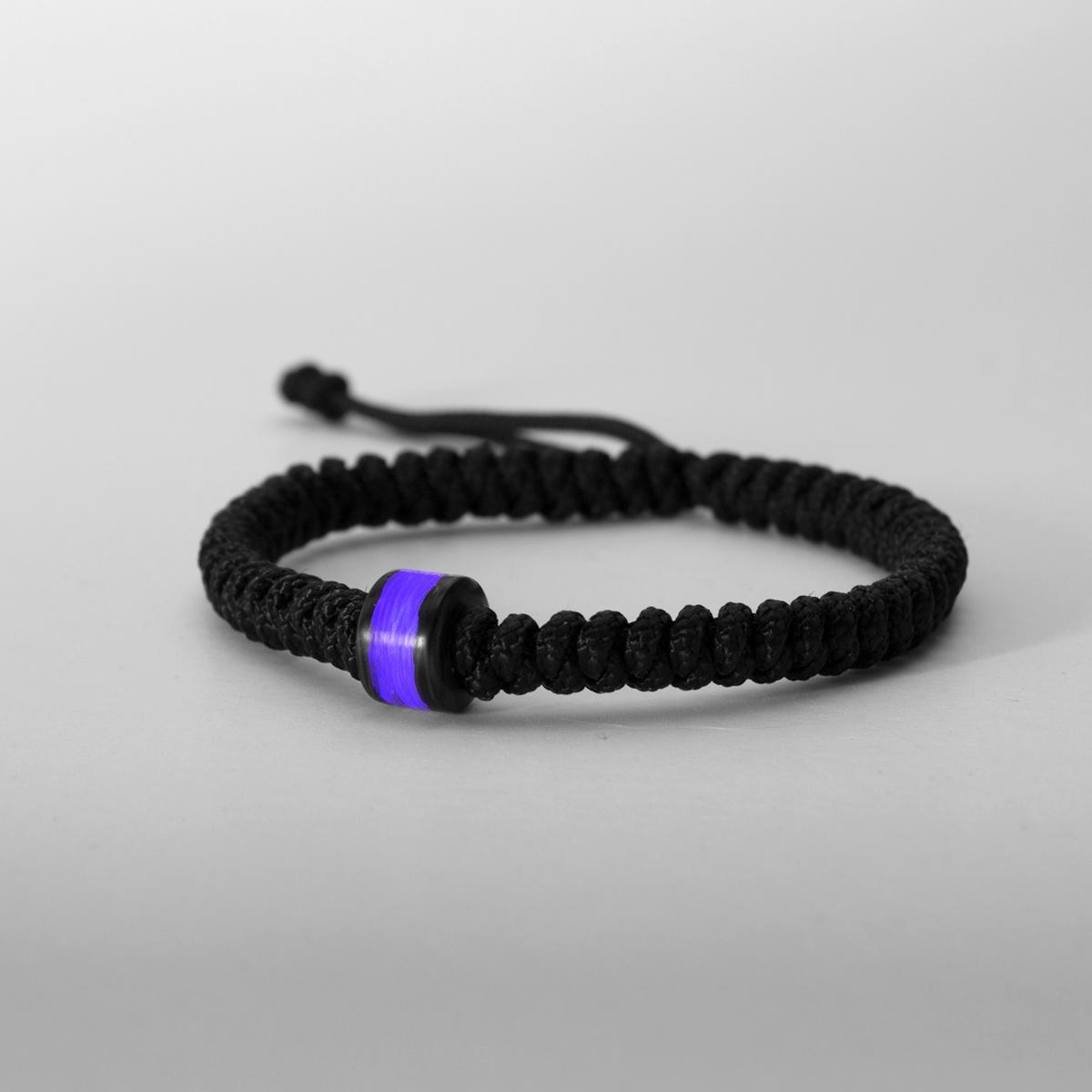 Purple Gitd Carbon Fiber Bead Bracelet