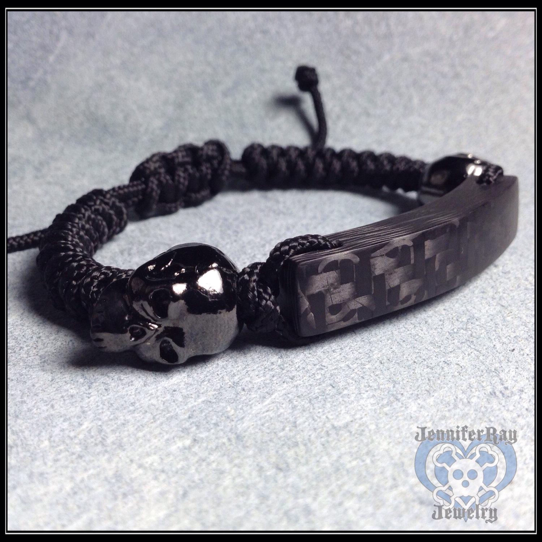 Shiny Hemae Skulls Matte Black Carbon Fiber Bracelet
