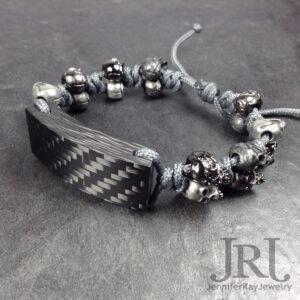 skulls carbon fiber bracelet
